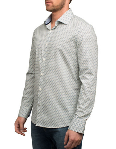 English Laundry Diamond Print Sport Shirt-LIGHT BLUE-Large