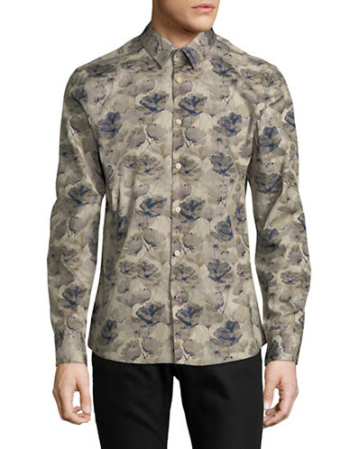 English Laundry Floral Water Colour Sport Shirt-NATURAL-Medium