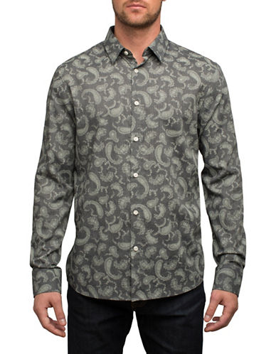 English Laundry Paisley Print Cotton Sport Shirt-BLACK-Small