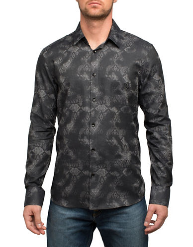 English Laundry Faded Paisley Cotton Sport Shirt-BLACK-Small