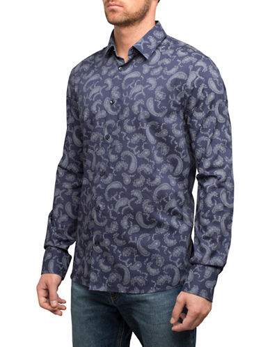 English Laundry Paisley Print Cotton Sport Shirt-BLUE-Large