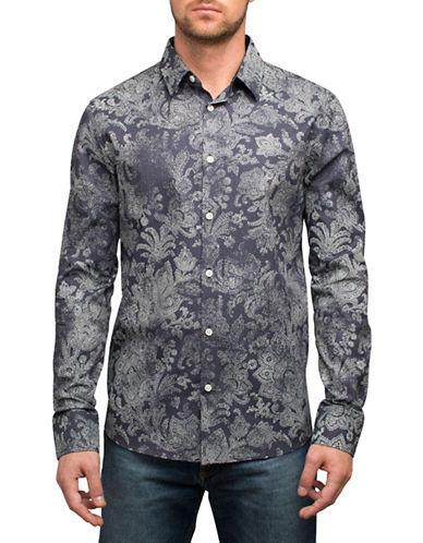 English Laundry Vintage Paisley Cotton Sport Shirt-BLUE-Small