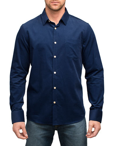 English Laundry Tonal Pinstripe Cotton Sport Shirt-BLUE-XX-Large