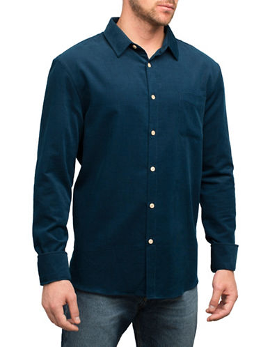 English Laundry Tonal Pinstripe Cotton Sport Shirt-BLUE-Large