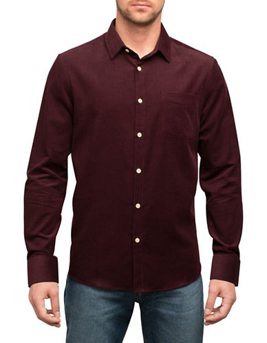 English Laundry Tonal Pinstripe Cotton Sport Shirt-RED-XX-Large