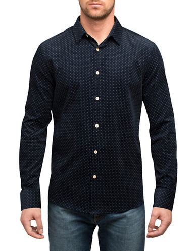 English Laundry Small Polka Dot Cotton Sport Shirt-BLUE-X-Large