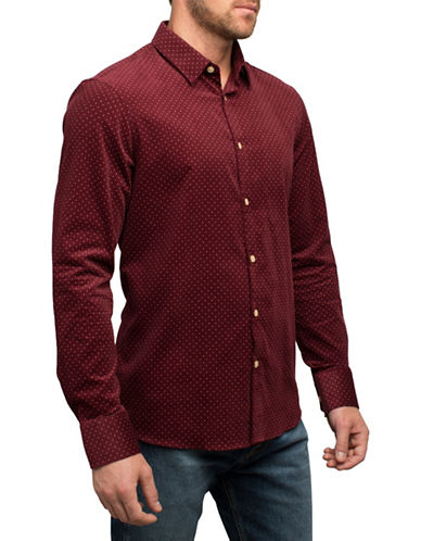 English Laundry Classic Polka Dot Cotton Sport Shirt-RED-Small