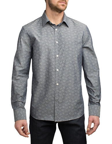 English Laundry Tonal Floral Jacquard Sport Shirt-GREY-X-Large