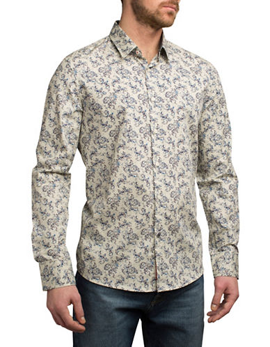English Laundry Ornate Paisley Sport Shirt-BEIGE-Small