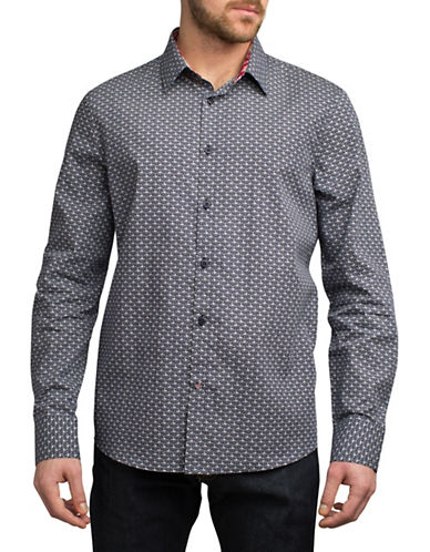 English Laundry Outline Fan-Print Cotton Sport Shirt-BLUE-Small