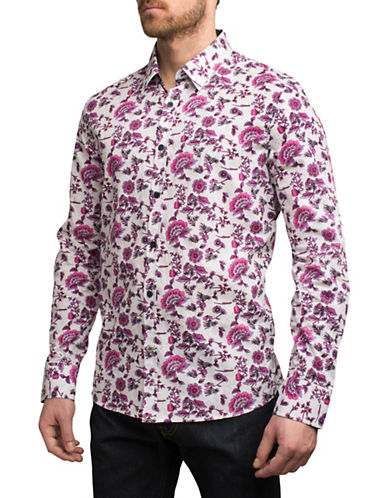 English Laundry Bold Ombre Floral Cotton Sport Shirt-PINK-Large