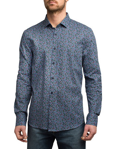 English Laundry Mini Tropic Floral Cotton Sport Shirt-BLUE-Large