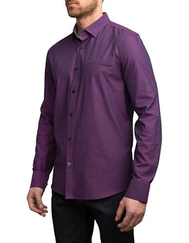 English Laundry Tonal Jacquard Zigzag Cotton Sport Shirt-PURPLE-X-Large