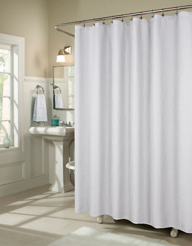 Commonwealth Home Fashions Branches Matelasse Shower Curtain-WHITE-One Size