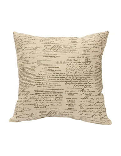 Commonwealth Home Fashions Script Linen-Blend Cushion-NATURAL-One Size