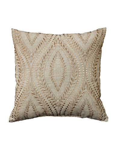 Commonwealth Home Fashions Geometric Embroidered Reversible Cushion-NATURAL-One Size