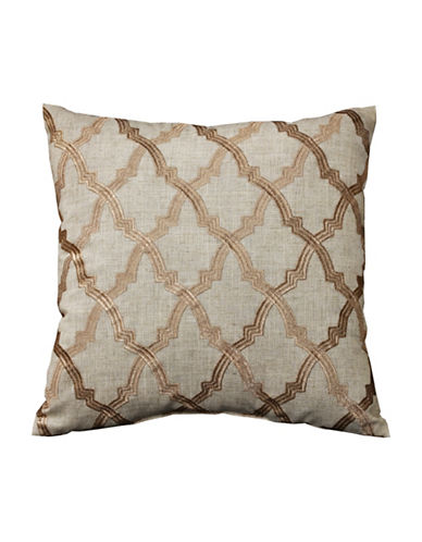 Commonwealth Home Fashions Lattice Embroidered Reversible Cushion-NATURAL-One Size