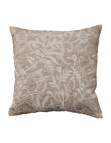 Commonwealth Home Fashions Floral Embroidered Reversible Cushion-NATURAL-One Size