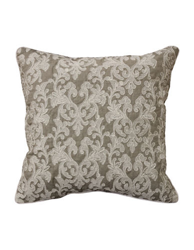 Commonwealth Home Fashions Medallion Embroidered Reversible Cushion-GREY-One Size
