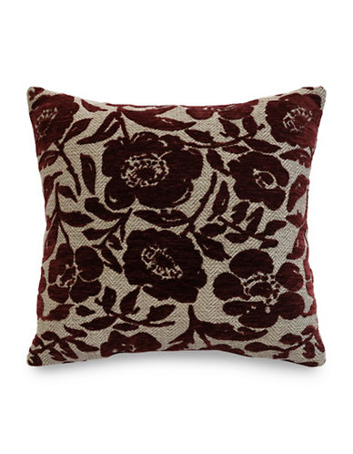 Commonwealth Home Fashions Chenille Floral Cushion-BURGUNDY-One Size