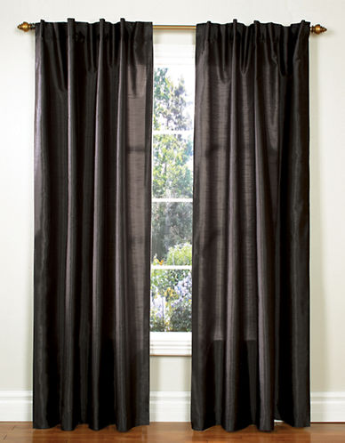 Home Studio Pack of 2 Faux Silk Window Panels-BLACK-95 inches