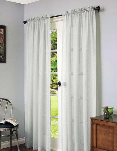 Home Studio Cote DAzure Faux Linen 84in Window Panel-WHITE-84 inches