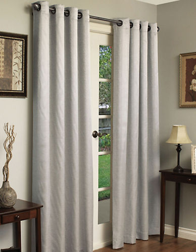 Commonwealth Home Fashions Metallic Stripe loral Panel-SILVER-95 inches