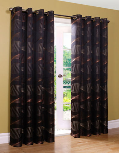 Home Outfitters Swirls Jacquard Curtains-BLACK-95 inches