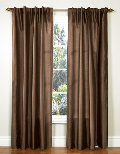 Home Studio Pack of 2 Faux Silk Window Panels-CHOCOLATE-95 inches