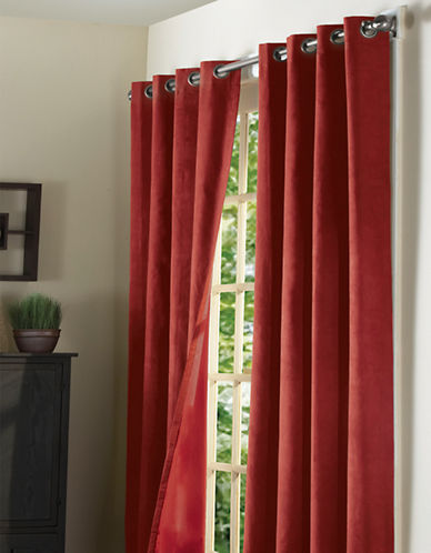 Home Studio Pack of 2 Faux Suede Window Panels-BURGUNDY-84 inches