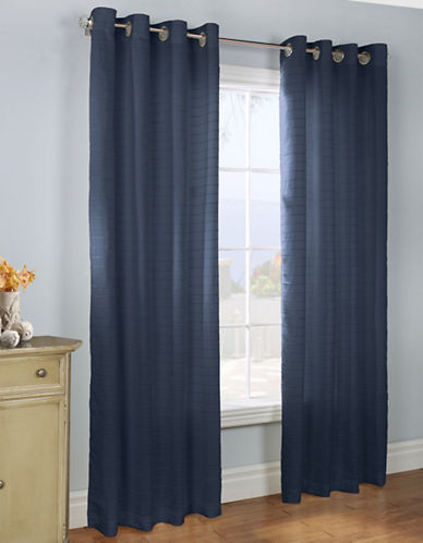 Commonwealth Home Fashions Large Channel Striped Panel-NAVY-84 inches
