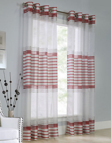 Commonwealth Home Fashions Onyx Chenille Stripe Panel-RED-84 inches