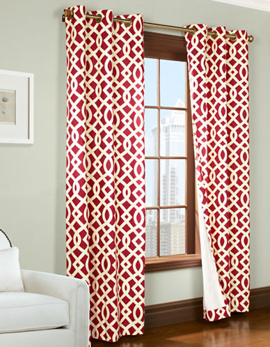 Commonwealth Home Fashions Trellis Printed Curtain Panel-RED-95 inches