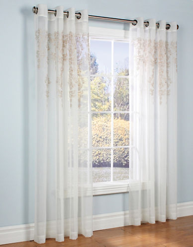 Home Outfitters Nicole Embroidered Voile Curtain Panel-CREAM-84 inches