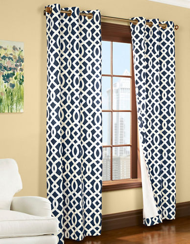 Home Outfitters Large Trellis Printed Curtain Panel-NAVY-95 inches