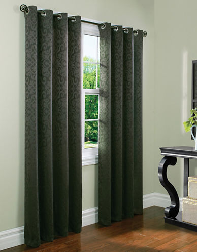 Home Outfitters Istanbul Tonal Jacquard Curtain Panel-CHARCOAL-95 inches