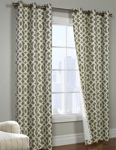 Commonwealth Home Fashions Trellis Printed Curtain Panel-KHAKI-95 inches