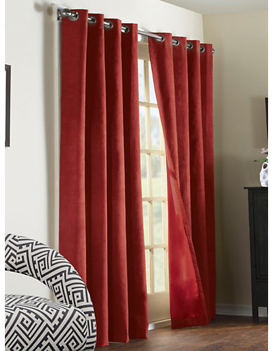 Commonwealth Home Fashions Navar Faux Suede Panel-BURGUNDY-95 inches