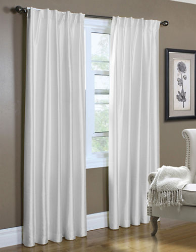 Home Studio Lined Faux Silk Curtain Panels-WHITE-84 inches