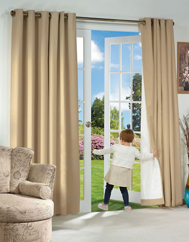Home Outfitters Thermaplus Energy-Saving Curtain Pair-GREY-84 inches