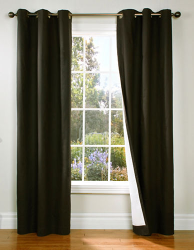 Home Outfitters Thermaplus Energy-Saving Curtain Pair-BLACK-84 inches