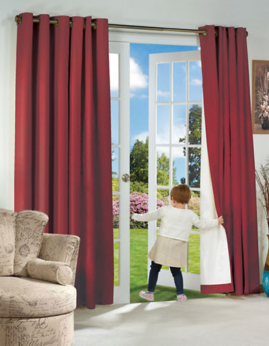 Home Outfitters Thermaplus Energy-Saving Curtain Pair-RED-84 inches