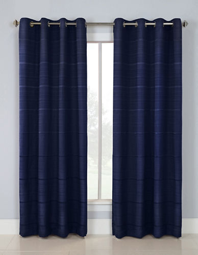 Distinctly Home Linear Blackout Grommet Top Window Panel-NAVY-84 inches