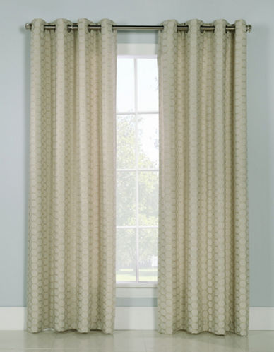 Glucksteinhome Mira Grommet Top Drapery Panel-CHAMPAGNE-96 inches
