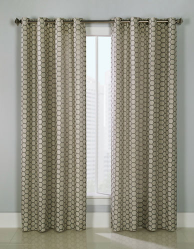 Glucksteinhome Mira Grommet Top Drapery Panel-CHARCOAL-96 inches