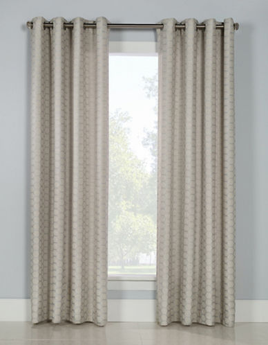 Glucksteinhome Mira Grommet Top Drapery Panel-SILVER-96 inches