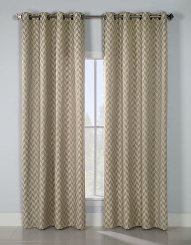Glucksteinhome Keaton Grommet Top Drapery Panel-TAUPE-96 inches