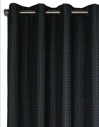 Distinctly Home Popcorn Grommet Drape-BLACK-84 inches