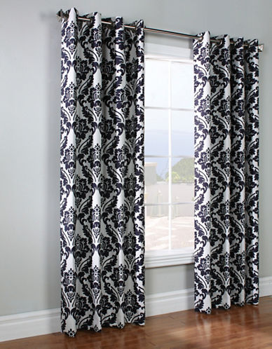 Home Outfitters Chateau Jacquard Curtain Panel-CHARCOAL-84 inches