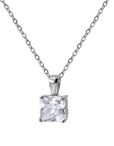Expression Sterling Silver Pave Square Pendant Necklace-SILVER-One Size